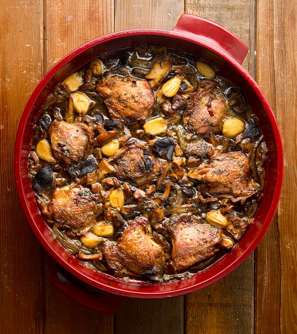 braised pheasant and mushrooms
